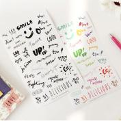 Pinzhi 8 Pcs English Colour Print Diary Stationery Decoration Seal Notebook Stickers DIY