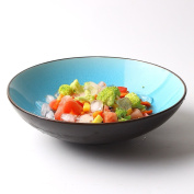 Retro Ice Crack Ceramic Ramen Soup Big Bowl Creative Vegetable Salad Bowl 23cm Tableware