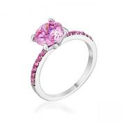 J Goodin R08565R-V01-05 2.3ct Pink Cubic Zirconia Rhodium Ring - Size 5