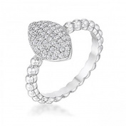 J Goodin R08561R-C01-05 0.3ct Beautiful Oval-Designed Rhodium Ring with Clear Cubic Zirconia, Size 5