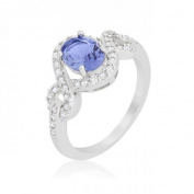 Icon Bijoux R08396R-C21-08 Tanzanite Halo Pave Cocktail Ring, Size 8