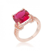 Icon Bijoux R08465A-C17-09 Charlene 6.2 Carat Ruby Cz Rose Gold Classic Statement Ring, Size 9