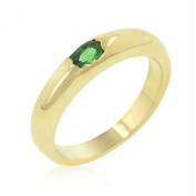 Green Oval Simple Ring, Size : 09