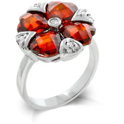 Kate Bissett R08029R-C13-05 Genuine Rhodium Plated Cushion Cut Garnet CZ Heart Cluster Ring with Clear CZ Bezel and Pronged Accents in Silvertone - Size 5