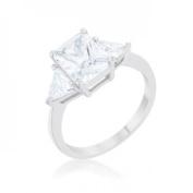 Icon Bijoux R08451R-C01-09 Classic Rhodium Engagement Ring, Clear - Size 9