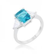 Icon Bijoux R08451R-C31-06 Classic Topa Rhodium Engagement Ring, Blue - Size 6