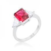 Icon Bijoux R08451R-C17-09 Classic Rhodium Engagement Ring, Fuchsia - Size 9