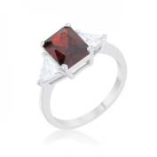 Icon Bijoux R08451R-C13-05 Classic Rhodium Engagement Ring, Garnet - Size 5
