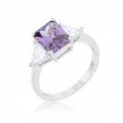 Icon Bijoux R08451R-C20-08 Classic Rhodium Engagement Ring, Amethyst - Size 8