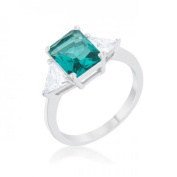 Icon Bijoux R08451R-C32-08 Classic Rhodium Engagement Ring, Aqua - Size 8