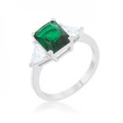 Icon Bijoux R08451R-C40-05 Classic Rhodium Engagement Ring, Emerald - Size 5