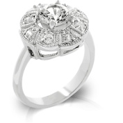 Kate Bissett R08034R-C01-05 White Gold Rhodium Antique Milligrain Style Ring featuring CZ Cluster with Round CZ Centre Stone - Size 5