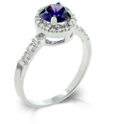 Kate Bissett R08024R-C21-08 Genuine Rhodium Plated with Pave Round Cut Clear CZ Flanking a Large Tanzanite Round Cut Centrepiece- Fashion Ring in Silvertone. - Size 8