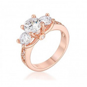 J Goodin R07733A-C01-09 Dazzling Clear Three Stone Engagement Ring with Cubic Zirconia - Size 9