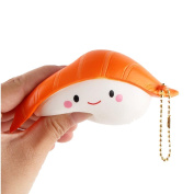 Fat.chot Soft Squishy Toy Cute Expression Sushi PU Slow Rising Squeeze Party Game Toy Japanese Food Phone Straps Keychain Decompression Toys Relieves Stress Relax Fun Gift for Kids Adults