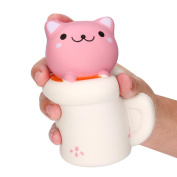 Squishy Relieve Toy, MML 14CM Cute Cup Cat Squeeze Slow Rising Toy Relieve Fun Decor Gift