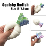 Soft Cute Radish Scented Squishy Toys, HOMEBABY 15cm Slow Rising Squeeze Toys Cream Scented Decompression Toys Fun Toy Gift Kids Soft Toy Jumbo Collection Easter Gift Phone Strap