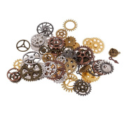 Sharplace 100 Gramme Assorted Antique Steampunk Gears Charms Pendant Clock Watch Wheel Gear for Crafting, DIY Jewellery