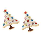 Nikgic A Pair Coloured Christmas Tree Earrings Elegant Woman Earrings Chic Girls Earrings