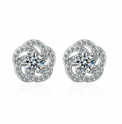 Nikgic A Pair Rose Zircon Simple Earrings Elegant Woman Earrings Chic Girls Earrings