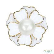 Nikgic Creative White Pearl Flower Brooch Fashion Girls Clothes Accessories