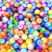Kailusee 500 PCS Acrylic Resin Beads Round Beads Pebbles Beads for Jewellery Making, Colourful Stripe, 8 Mix Colours, 8mm in Diameter