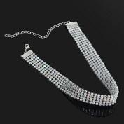 Smile YKK Rhinestone Bridal Multi-Row Clavicle Chain Choker Jewellery 1.6CM
