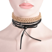 Smile YKK Leather Rope Alloy Sweater Tie Drawstring Clavicle Chain Chokers Black
