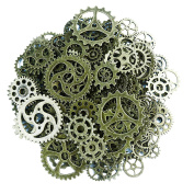 Makhry 150 Gramme Assorted Vintage Bronze Metal Steampunk Jewellery Making Charms Cog Watch Wheel for Crafting, Cosplay Halloween Decoration