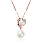 Kailusee Rose Gold Flower Pendant Pearl Necklace for Christmas Valentines Gift