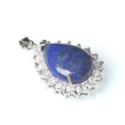 1 x Blue Lapis Lazuli 25 x 40mm Pendant (Crystal Pave Drop) - (CB52258) - Charming Beads