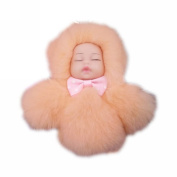 Kailusee Cute Reborn Baby Doll Artificial Plush Keychain Toys Phone Bag Ornament Keyring Light Pink in Colour