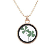 Kelaina Special Clover Dried Flower Round Glass Pendant Necklace for Girls Gift