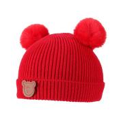 Domybest Newborn Baby Bobble Hat Winter Warm Knitted Cap Cute Cartoon Pom Pom Hats