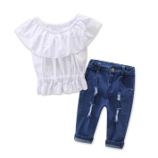 SHOBDW Girls Clothing Sets, Toddler Baby Fashion Off Shoulder Solid T-Shirt Top + Hole Jeans Pants Summer Outfit Clothes