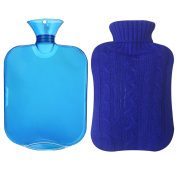 Aptoco Hot Water Bottle Classic Rubber Transparent Ideal for Quick Pain Relief and Comfort Deep Blue