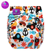 Size Milovia (Prefold) – Tiny Pirates – Over Reusable Nappy Over Trousers, Best Quality Soft Outer