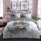 Luxury duvet cover with pillowcases printed poly cotton bedding set