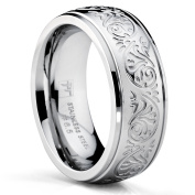 7MM Stainless Steel Ring With Engraved Florentine Design