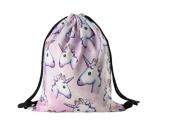 Wayme Unicorn Pattern Drawstring Gym Bag Cute Backpack Gift for Girls Women Polyester School Travel Shoulder Rucksack