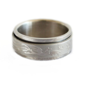 Silver Spinner Ring with Dragon Phoenix Image-size 7