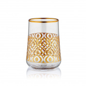 Aheste Coffee Side Glass - Ikat - Gold