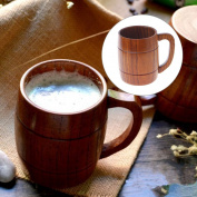 Jiamins Vintage Handmade Wood Drinking Cup With Handle Portable Beer Tea Coffee Mug
