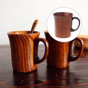 Jiamins 1Pc Vintage Handmade Wooden Tea Cup With Handle Milk Beer Coffee Mug Comfort