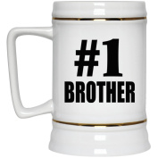 Number One #1 Brother - Beer Stein, Ceramic Beer Mug, Best Gift for Birthday, Anniversary, Easter, Valentines Mothers Fathers Day