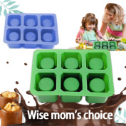 [2 Pack]Silicone Ice Shot Glass Mould, iClover 6 cups Square Green Ice Cube Tray,Jelly Tray ,Chocolate Mould ,Food Grade Silicone Ice Shot