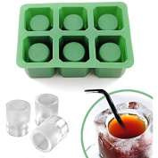 IClover Silicone Ice Shot Glass Mould, 6 cups Square Green Ice Cube Tray,Jelly Tray ,Chocolate Mould ,Food Grade Silicone Ice Shot Party Pub