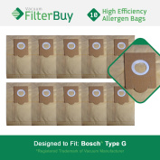 10 - Bosch Type G Vacuum Bags, Bosch part # 462544, BBZ51AFG1U & BBZ51AFG2U. Designed by FilterBuy to fit Bosch Compact, Formula, HealthGuard, Electro Duo & Plus Canister Vacuum Cleaners