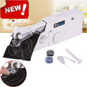 Handheld Sewing Machine - Portable Household Quick Handy Stitch Tool Great for Travelling or Use in Home Includes Threads Needles Accessories