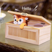 Audio Version Useless Box Wooden Electronic Useless Box Cute Tiger Funny Gift Toy Stress-Reduction Desk Decoration